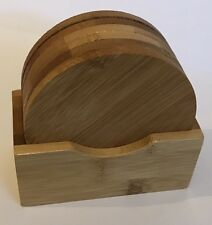 6 Circular Bamboo Coasters In A Bamboo Holder Brand New In Packing
