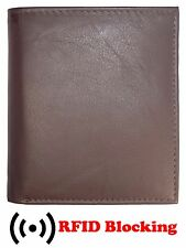 RFID Signal Blocking European Hipster Mens Wallet Cow Leather Credit Card ID BRN