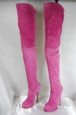 CASADEI SKY HIGH HEEL PINK SUEDE STRETCH OVER THE KNEE BOOTS US 10 EU 40
