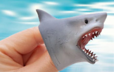 1 BABY Shark FINGER PUPPET Soft Stretchy Rubber Song Jaws Cake Topper