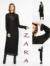 ZARA Mid-Calf Victorian Style Black Dress Long Sleeve New (RT$75) Double Dress M
