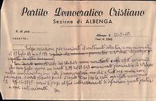 PARTITO DEMOCRATICO CRISTIANO ALBENGA 1948 D.C. DEMOCRAZIA CRISTIANA C9-118