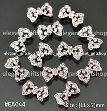 #EA044 3D Nail Art Tips Decoration (11 x 7)mm Hollow Bow Tie Clear Rhinestones