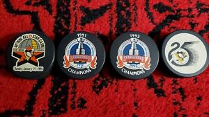 (4) Pittsburgh Penguins Pucks 1990 1991 1992 Stanley Cup All Star Game 25th Lot