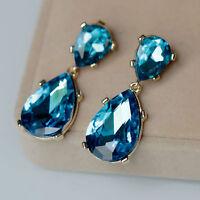 Boucles d'Oreilles Clous Doré Deux Gouttes Bleu Original Mariage Vintage BB 13