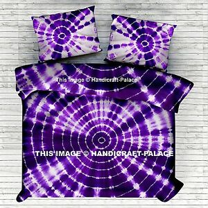 King Shibori Purple Bed Sheet Tie Dye Cotton Bedding Throw With Pillow Covers