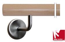Main courante Rampe d'Escalier hêtre 1m avec 2 support  acier inoxydable