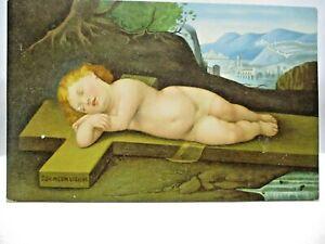 1910 ITALIAN POSTCARD BABY JESUS ON THE CROSS, GESU BAMBINO SULLA CROCE