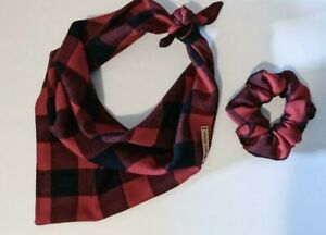 Tie-on Buffalo Plaid Dog Bandana with Matching Scrunchie by Juniper Leaves