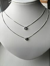 Sterling Silver 925 CZ And Heart Double Chain Layer Pendant Necklace