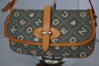 DOONEY & BOURKE Yellow Signature Coated Canvas & Leather Flap Shoulder Bag - EUC