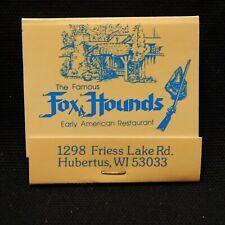 Matchbook Fox Hounds Early American Restaurant Hubertus Wi Rear Strike 30 Strike