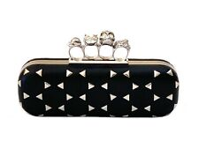 Alexander McQueen Triangle-Studded Knuckle-Duster Clutch Bag, in Black