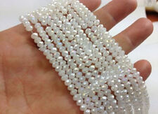 100pcs 4x6mm white jade AB crystal faceted gems Rondelle spacer Loose Bead