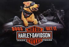 Dogs Get It Riding Buddy Harley Davidson Motorcycle Embossed Metal Sign