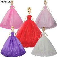 Lace Dress For Barbie Dolls Gown Veil Wedding Dresses Outfits Clothes For Barbie