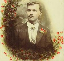 Hand-tinted CABINET CARD PHOTO: Post Mortem MEMORIAL Dapper Young MAN w MUSTACHE