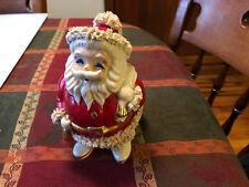 Vintage Lefton Christmas Santa Bank Gold Belt w/ bell Spaghetti Trim-stopper/tag