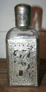 VTG Rare ETCHED SILVER FILIGREE Glass Decanter Bottle Asian Persian Folk Art #2