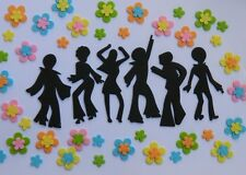 6 edible DISCO DANCING PEOPLE & 24 FLOWERS KIT RETRO cake topper DECORATION 70s