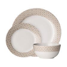 Avie 12pc Casablanca Dinner Set Natural Plates Bowls Porcelain Dining Set