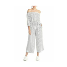 Rachel Roy Women's Aida White Metallic Striped off the Shoulder Jumpsuit Size 6