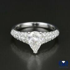 Natural 1.70 Ct Pear Shape Diamond Engagement Ring 18K White Gold