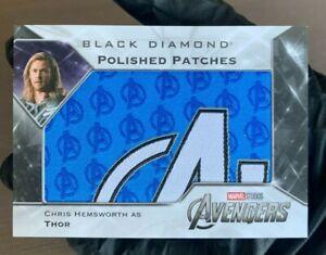 2021 Upper Deck Marvel Black Diamond Polished Patches Avengers Logo Thor