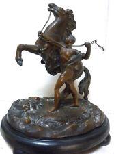 Belle statue sculpture cheval de marly en régule patiné bronze Coustou XIX ème