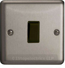 XS1B Varilight 1 Gang (Single), 1 or 2 Way 10 Amp Switch, Classic Brushed Steel