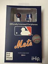 New York Mets iHip Noise Isolating Earphones Earbuds - iPhone iPod NEW
