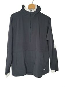 Under Armour Storm Woven Anorak Jacket Womens Md Black White Half Zip Hooded
