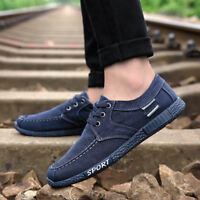 Mens Canvas Shoes Loafers Casual Sport Shose Lace up Breathable Sneakers New
