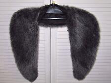 """Large Dark Silver Grey Mink Faux Fur SHAWL/WRAP/SCARF long 45"""" wide 5.5"""", in VGC"""