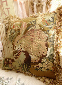 "16"" Vintage Antique Lovely Pair of Rabbits Hand Crafted Needlepoint Pillow Cover"