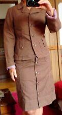 Tailleur CHATTAWAK 38 veste jupe boutonnée devant beige chocolat  + ceinture