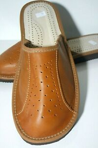 MENS CAMEL BROWN GENUINE LEATHER  SLIPPERS SCUFF SHOES ORTHOPEDIC SIZE 8 TO 13
