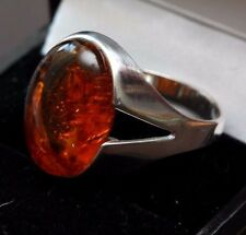 Unusual Mens  solid sterling silver signet ring with baltic amber stone size V