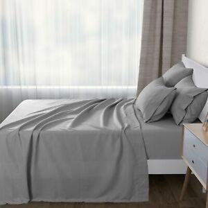 Luxury 1000TC Ultra Soft Flat Sheet Set Bed Microfibre Slate Silver-King Bed