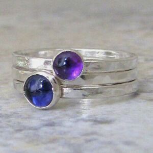 Amethyst, Blue Topaz Ring 925 Sterling Silver Ring Stacking Ring All Size AM-827