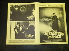 The Elephant Man 4pg German Phantopia Film program [David Lynch, Anthony Hopkins