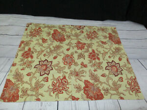 Pottery Barn Euro Pillow Sham Ivory Red Floral Cotton Linen