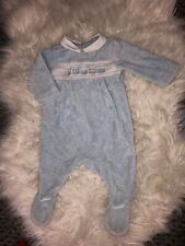 Mothercare blau Velour Zug Baby wachsen 1-3 Monate