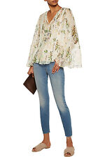 NWT $365 Haute Hippie Winds of Change Floral Bell sleeve Silk Blouse 010120 XS