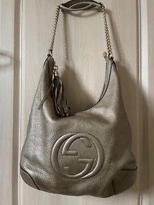 gucci soho shoulder bag gold leather with tassel