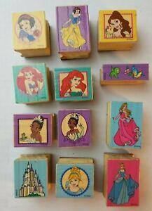 12 Disney Princess Rubber Mounted Stamps Castle Snow White Cinderella Ariel Frog