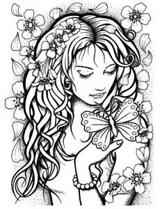 Blossom Girl ATC size Unmounted Rubber Stamp