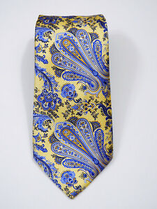 "NWOT JOS A BANK SIGNATURE GOLD PAISLEY LIQUID GLOSS SILK TIE L 62.5"" X W 3.5"""