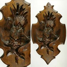 Swiss Black Forest Hand Carved Wood Game Bird Wall Plaque Ruef Brothers Brienz