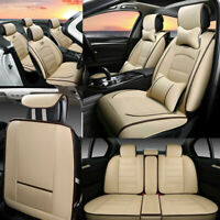 PU Leather Beige Car Seat Cover 5-Sit Cushion SUV Truck Auto Interior Universal